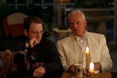 Gary Wheeler with Malcom McDowell on the set of The List