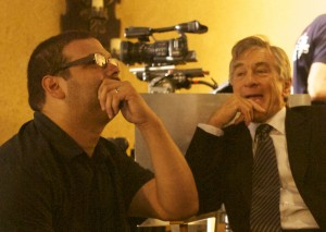 "Screenwriter Al Rodriguez and actor Robert De Niro ham it up on the set of ""Machete"""