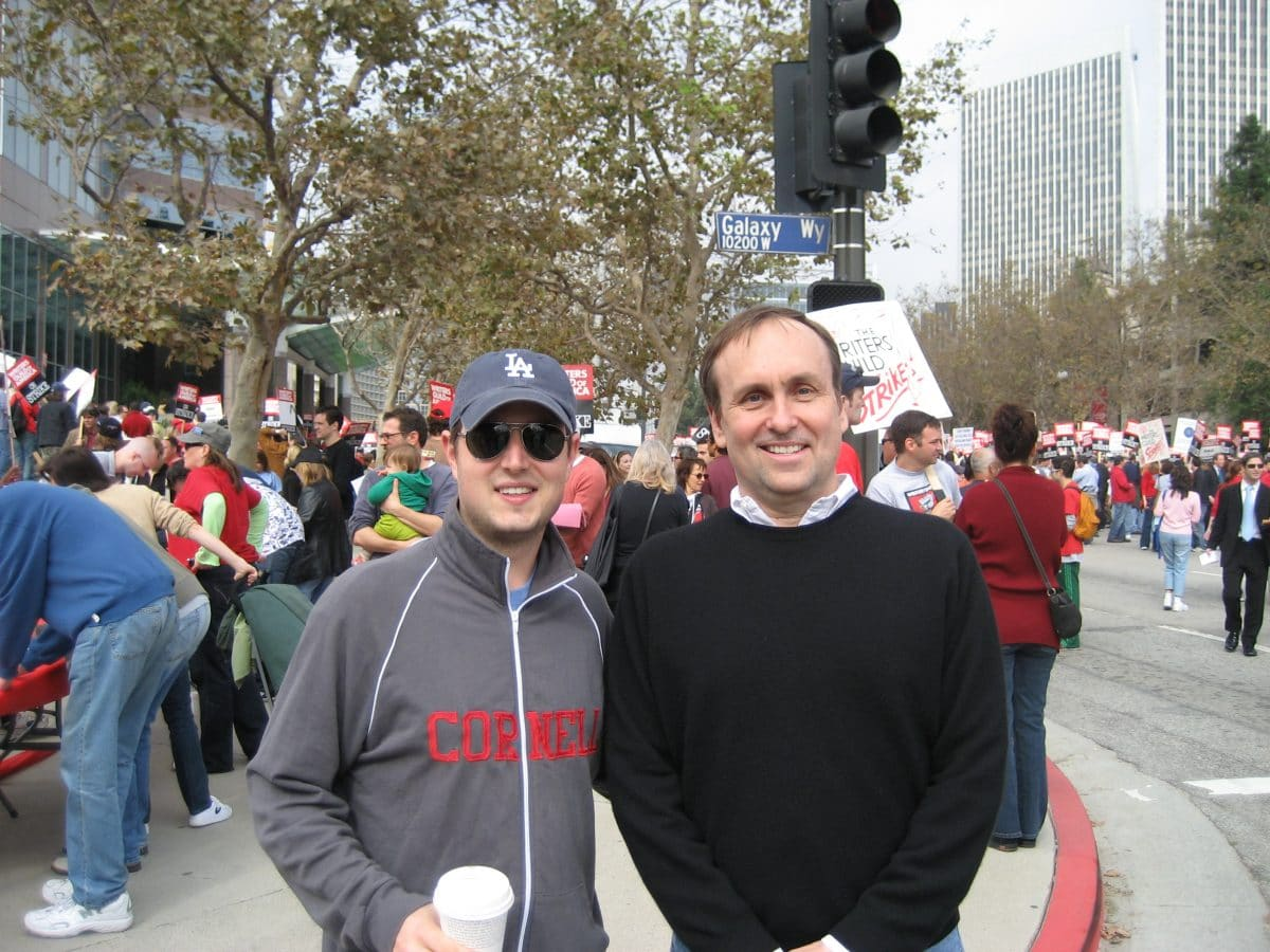 Ben Frahm and Blake Snyder on the picket line at the Writers Guild strike in early 2008.