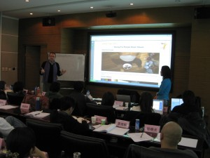 "Blake teaches the ""Kung Fu Panda"" Beat Sheet to students at the Beijing Film Academy in month, 2008"