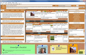 3.0 Screen Shot with All Templates Open: Title & Logline, Beat Sheet, The Board, Litter Box, and Noteboard