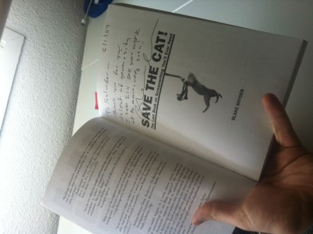 Salva's autographed copy of Blake's first book
