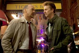 Riggan (Michael Keaton) and Mike (Edward Norton)