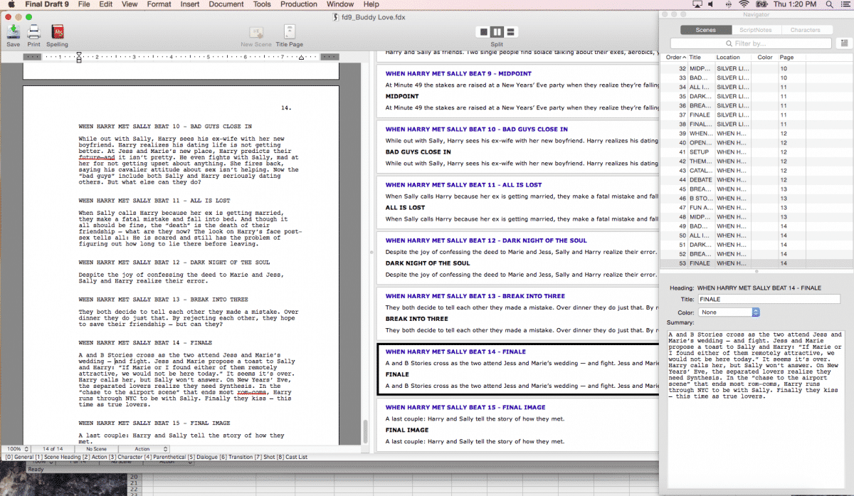 Scene View, Scene Navigator, and/or Index Card View within Final Draft 9