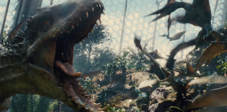 The Indominus Rex unleashes its Bad Guy status.