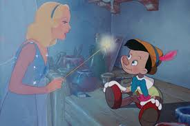 The blue Fairy and Pinocchio from Disney Pictures classic animated tale