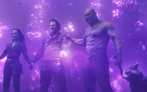 Digging deep down and reaching out in order to save the galaxy during the Finale of Guardians of the Galaxy.