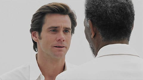 Bruce humbles himself before God in Bruce Almighty, revealing his journey through The Transformation Machine.