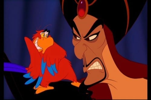 Bad Guys Jafar and Iago plot to destroy Aladdin and gain power.