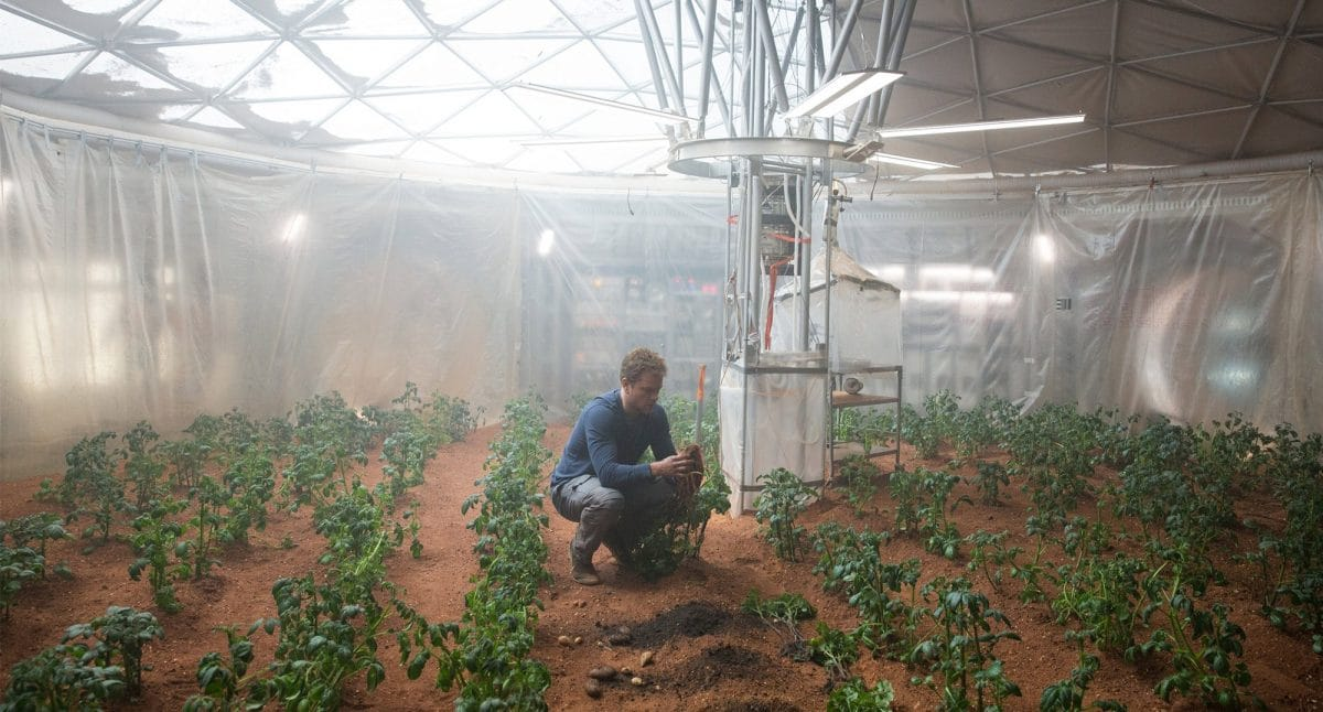 The botanist attempting to save his life by growing enough food for 3 years.