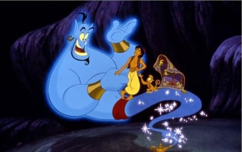 Aladdin meets the Genie, his guide into the upside-down world of Act 2.