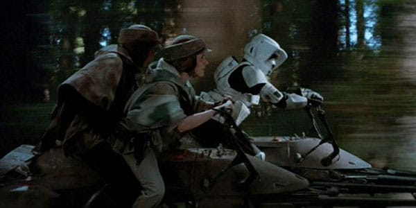 Riding speeder bikes isn't always fun and games.