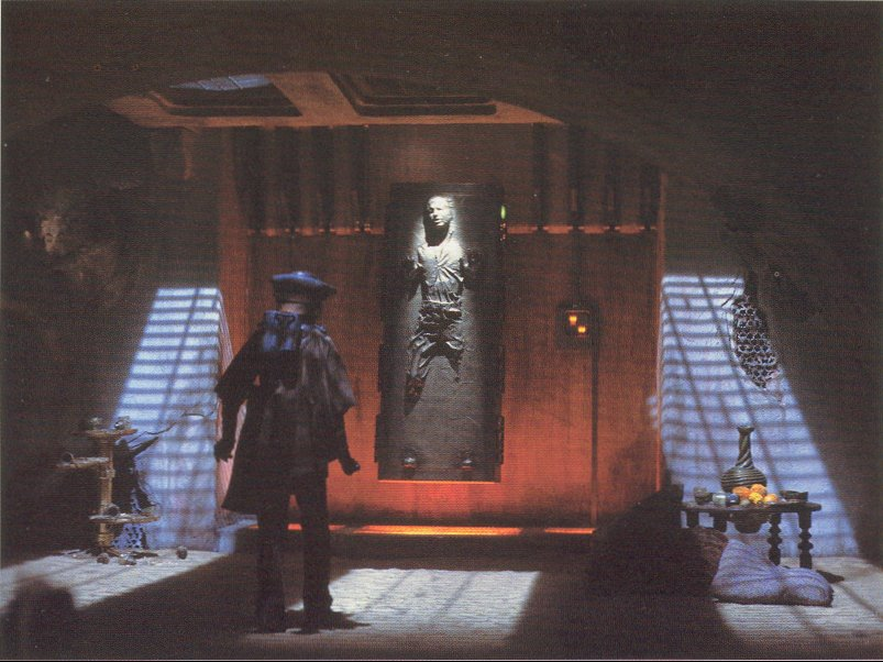 Han hangs around in Jabba's palace during the Set-Up as Leia rescues him.