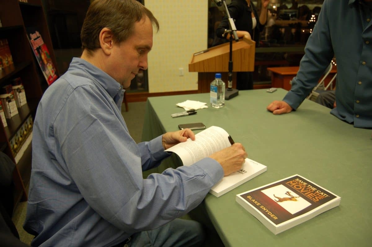 """Blake signs """"Save the Cat! Goes to the Movies"""" at the Barnes & Noble store at the Grove in Los Angelles"""