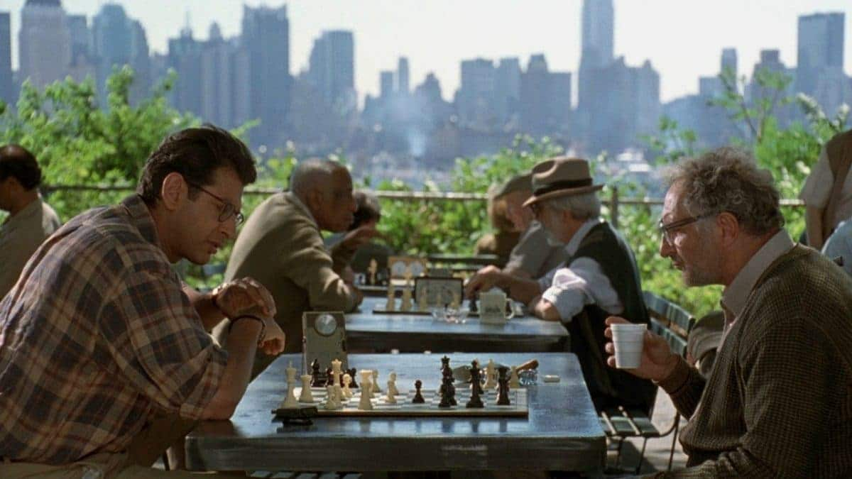 Even while beating his father in chess, David can't escape his own checkmate of Stasis = Death in the game of life.