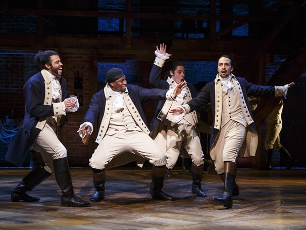 Daveed Diggs as Marquis de Lafayette, Okierete Onaodowan as Hercules Mulligan, Anthony Ramos as John Laurens, and Lin-Manuel Miranda as Alexander Hamilton in the original cast of Hamilton. Photo: Joan Marcus