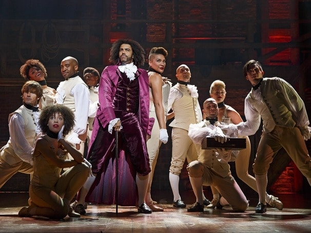 Daveed Diggs as Thomas Jefferson and the original cast of Hamilton. Photo: Joan Marcus