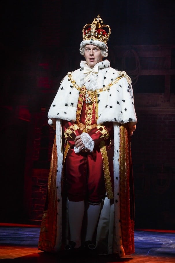 Jonathan Groff as King George in the original cast of Hamilton. Photo: Joan Marcus