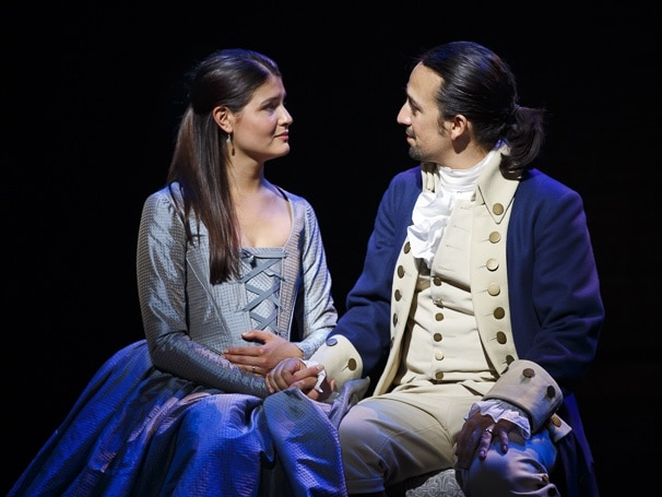 Phillipa Soo as Eliza Hamilton and Lin-Manuel Miranda as Alexander Hamilton in the original cast of Hamilton. Photo: Joan Marcus