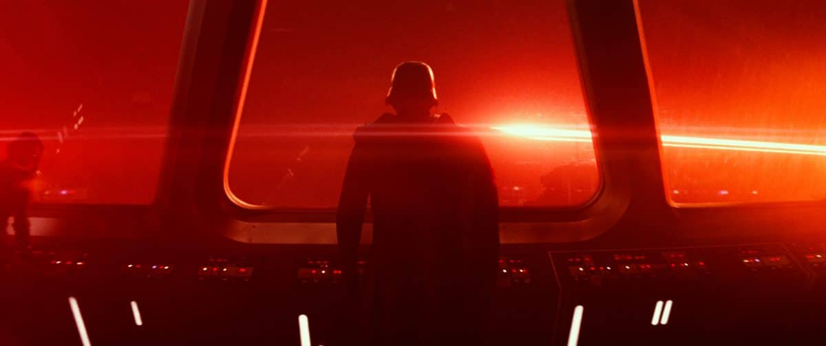 Kylo Ren stands alone on a starship. from the Star Wars; The Force Awakens trailer © 2014 Lucasfilm Ltd. & TM. All Right Reserved..