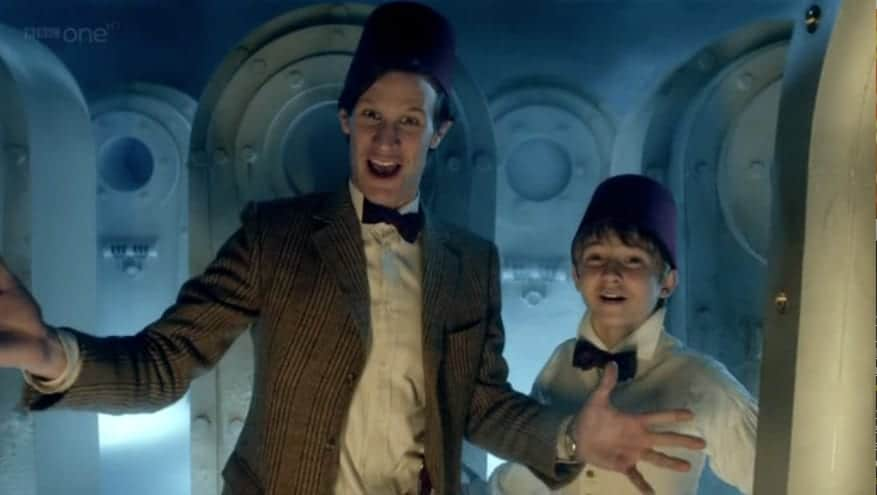 Fezzes are cool… even at Christmas! The Doctor and Kazran visit Abigail each year.