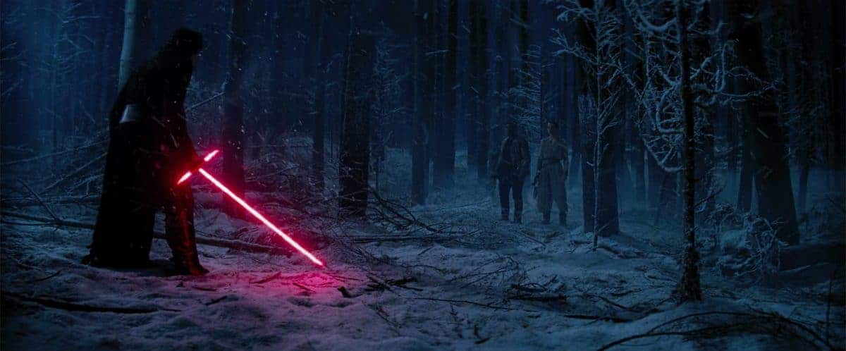 Kylo Ren Confronts Rey And Finn, Preparing For An Epic Duel.