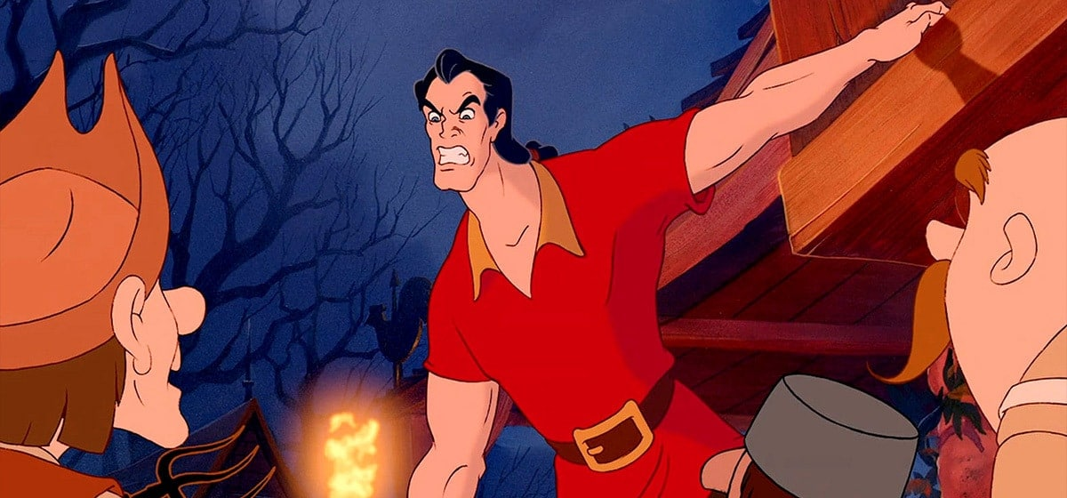 Gaston and the other Bad Guys form a mob to kill the Beast.