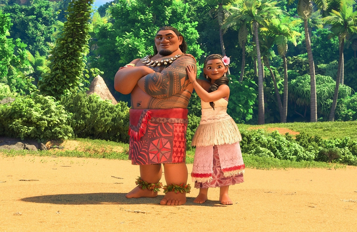 Moana with her father, Chief Tui, voiced by Temuera Morrison