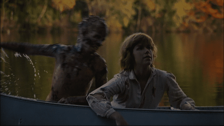 Dead Jason lunges out of the lake at the unsuspecting, lone survivor Alice, in one of horror cinema's best jump scares ever.