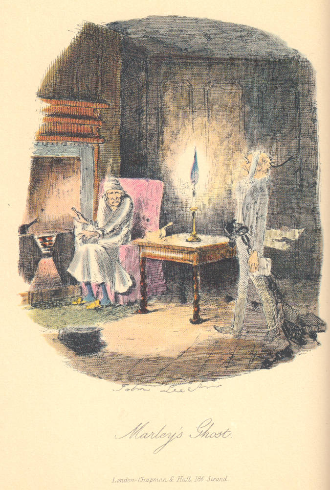 Dickens's A Christmas Carol, first edition (1843). John Leech's illustration captures the precise moment when the miser, in nightgown and sitting down before his fitful fire to enjoy a bowl of gruel, encounters the ghost of his dead partner. Scanned image and text by Philip V. Allingham, http://www.victorianweb.org/art/illustration
