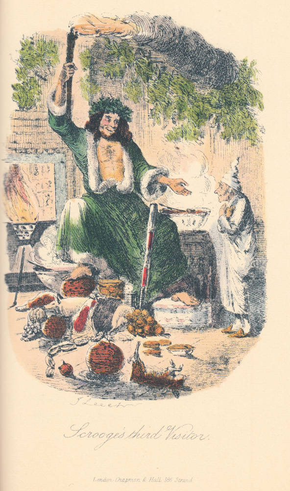 Dickens's A Christmas Carol, first edition (1843). The Ghost of Christmas Present. John Leech illustration. Scanned image by Philip V. Allingham, http://www.victorianweb.org/art/illustration