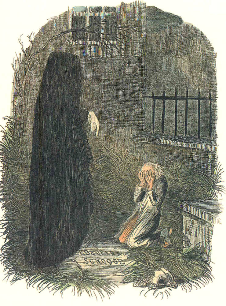 Dickens's A Christmas Carol, first edition (1843). The Last of the Spirits/The Pointing Finger . John Leech illustration. Scanned image and text by Philip V. Allingham, http://www.victorianweb.org/art/illustration