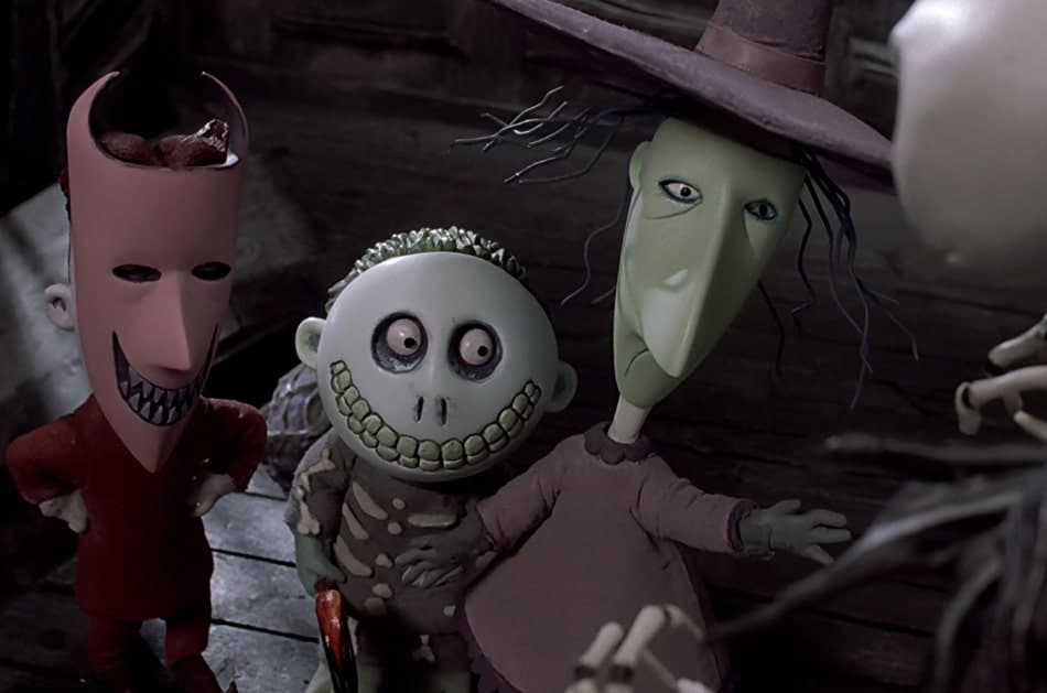 "Lock, Shock, and Barrel, wicked trick or treaters, kidnap ""Sandy Claws"" for Jack."