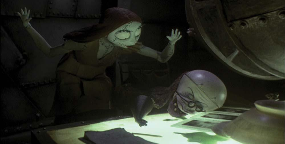 Sally cooks up a sleeping potion of Deadly Night Shade and Frog's Breath so she can see Jack, the skeleton of her eye.