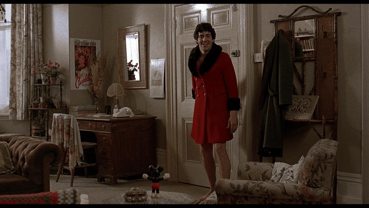 David returns to Alex's flat, sporting his stolen coat.