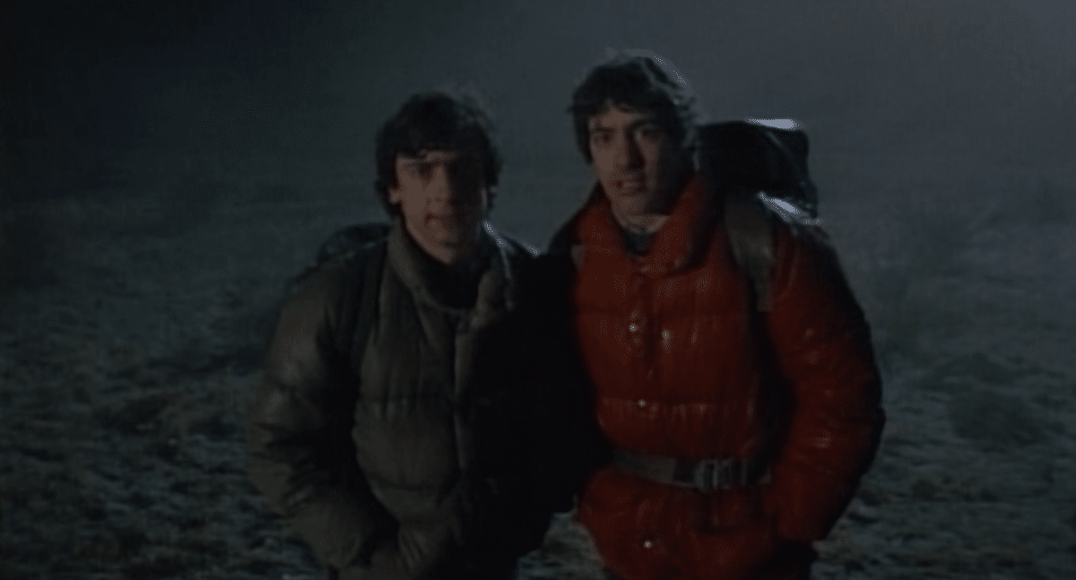 Jack Goodman (Griffin Dunne) and David Kessler (David Naughton) face down the lycanthropic curse together in An American Werewolf in London (1981).