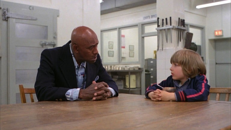 Dick Hallorann (Scatman Crothers) and Danny Torrance (Danny Lloyd) bond over an uncommon mental superpower that each of them share called The Shining(1980).