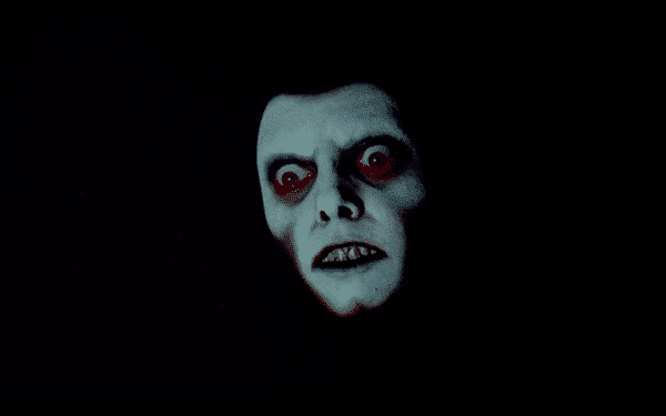 The demonic face of Pazuzu briefly shows up in Karras' dream.