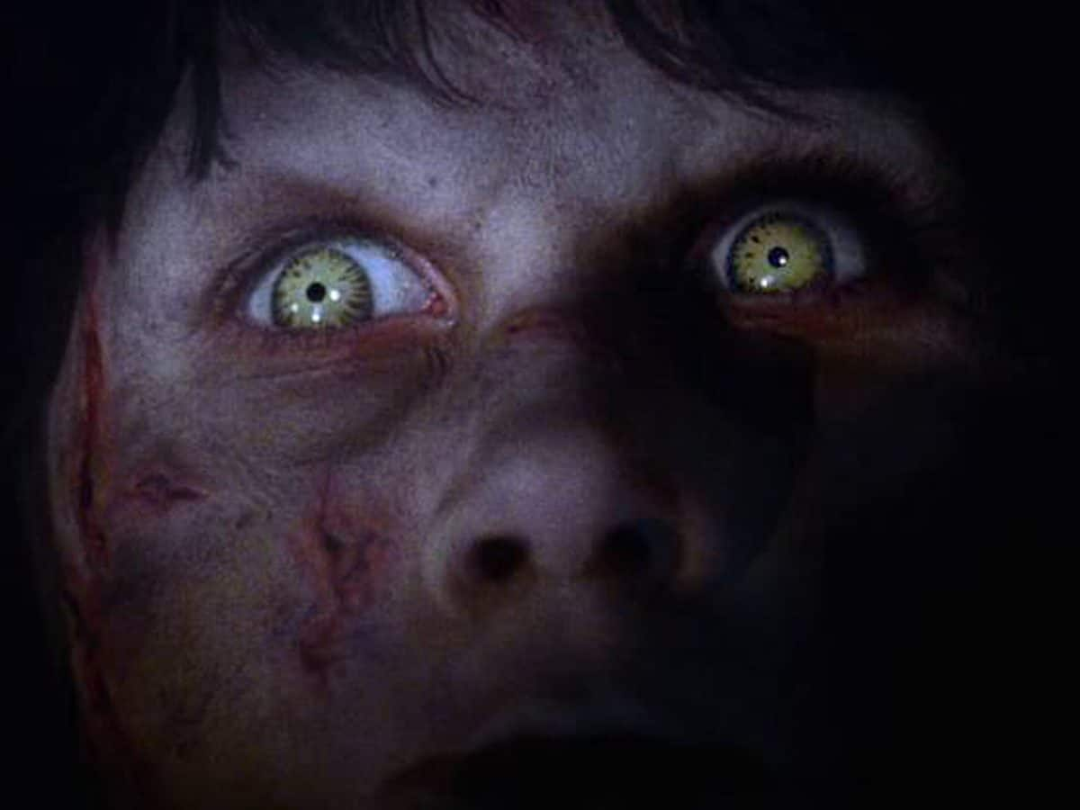 The eyes of evil: the demon Pazuzu waits for the inevitable return of Father Merrin.