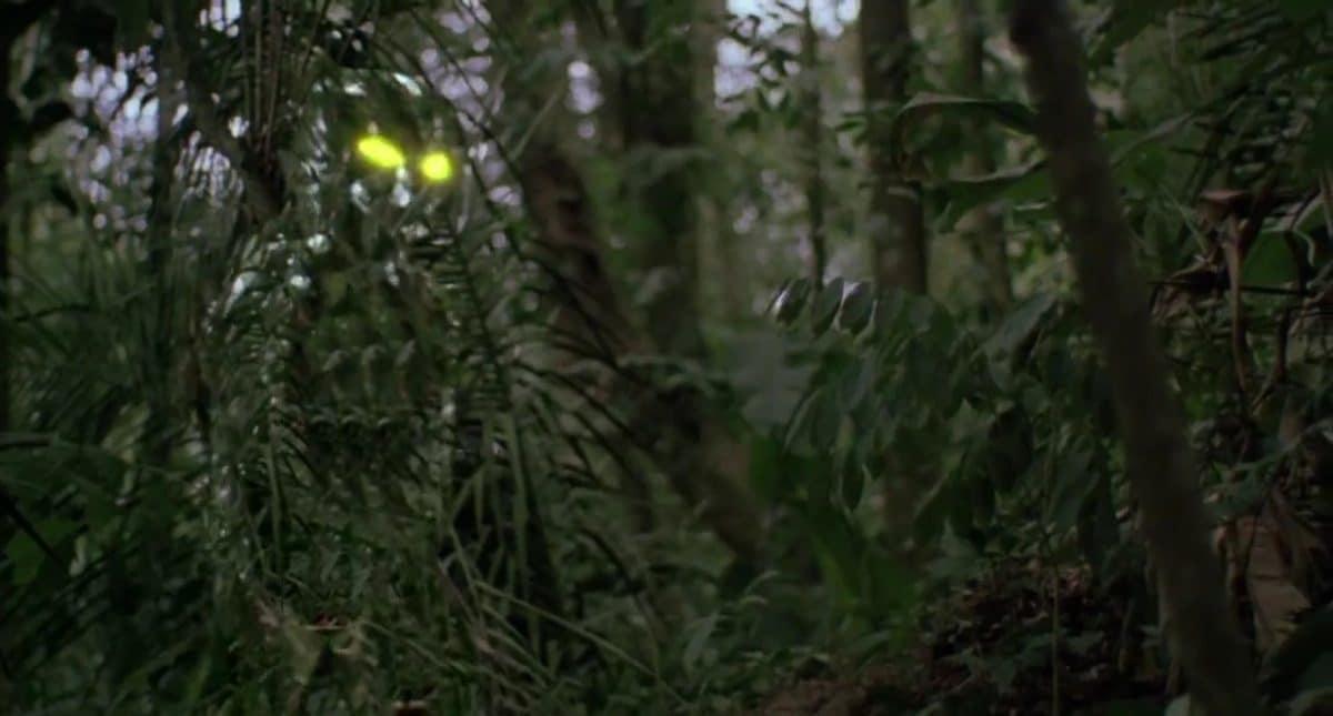 The Predator reveals itself (kind of) amid the jungle.