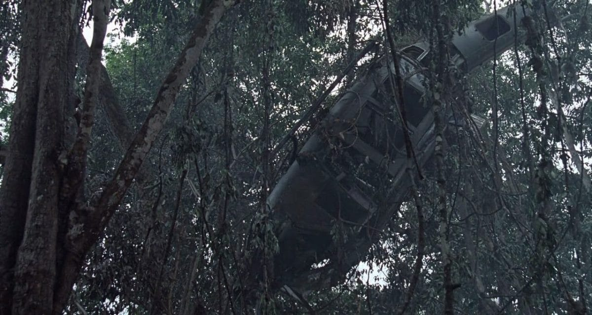 The mission objective that has set off the story: the downed helicopter in the jungle.