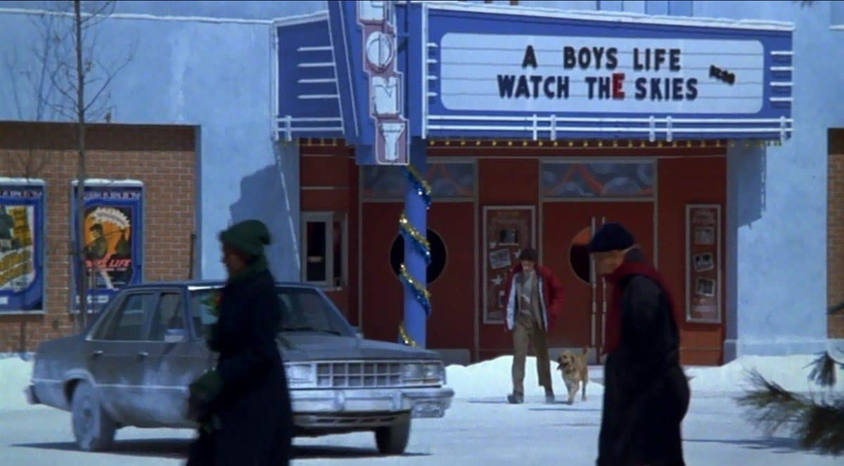 When Easter eggs attack—the double feature playing at the theatre include the original names of Spielberg's E.T. and Close Encounters of the Third Kind, respectively as Billy and Barney pass.