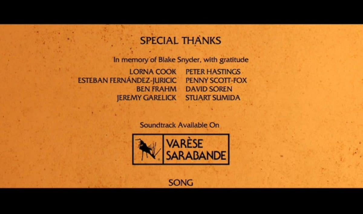 The end credits of How to Train Your Dragon, dedicating the film to Blake Snyder and thanking Master Cats Ben Frahm and Jeremy Garelick.