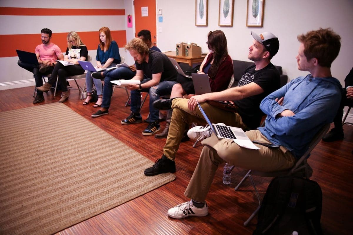 The full cast at John Rosenfeld Studios in West Hollywood, California
