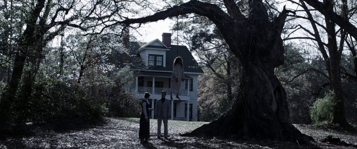 Lorraine Warren has a vision of Bathsheba at the hanging tree.