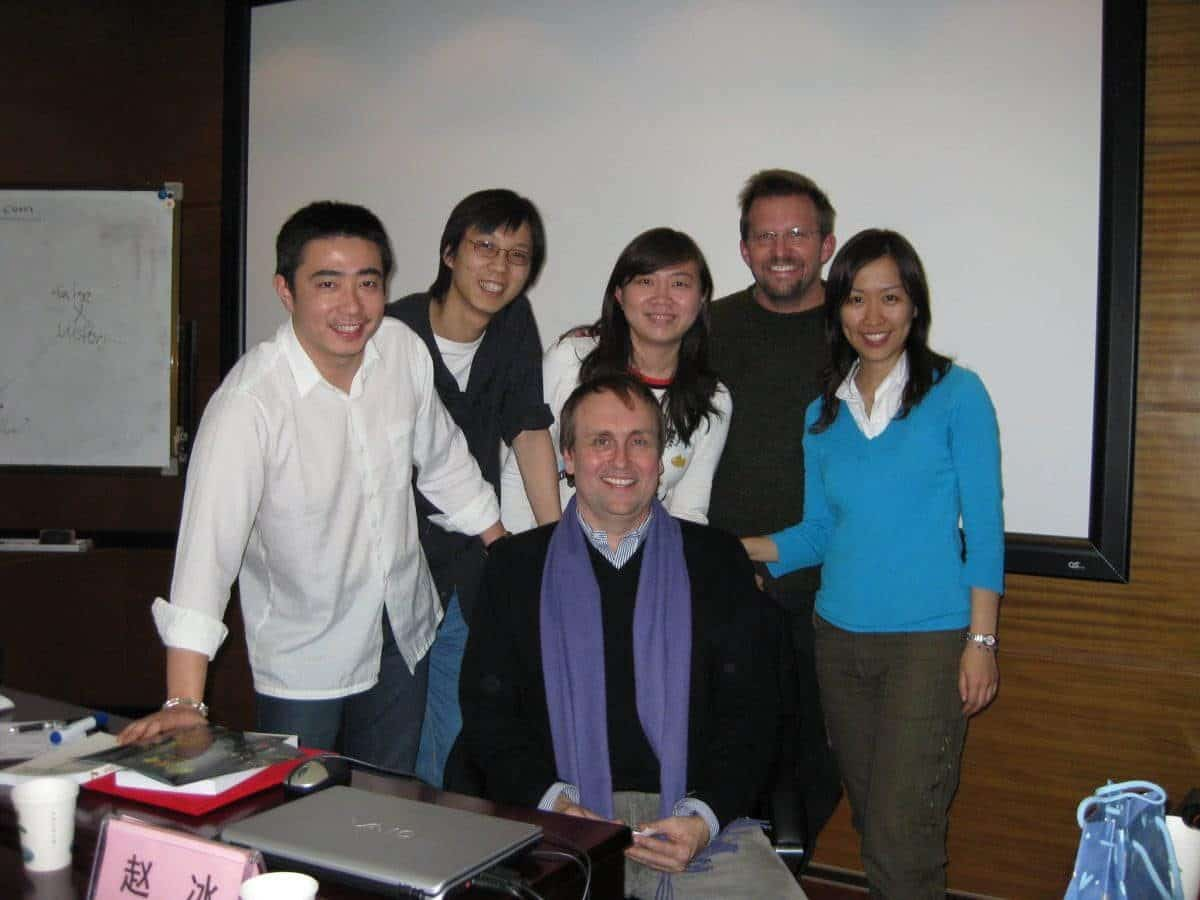 Blake at the Beijing Film Academy, surrounded by students and his translator on the far left and Kevin Geiger, second from left