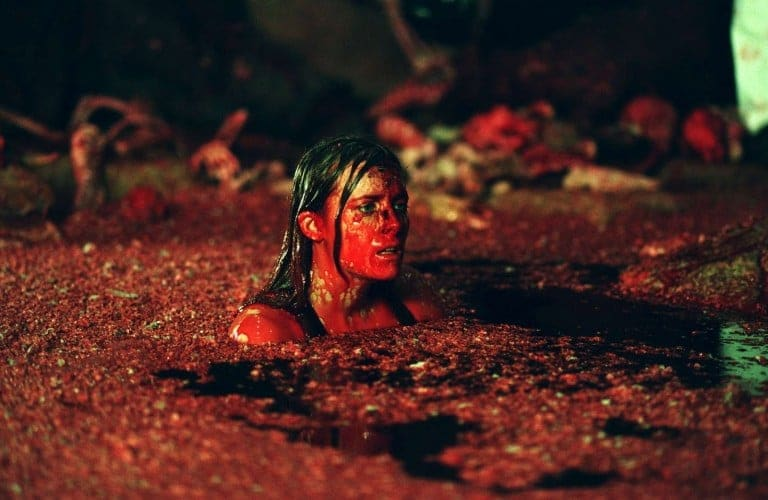 Sarah in the bloody muck of the second half of Act Two.