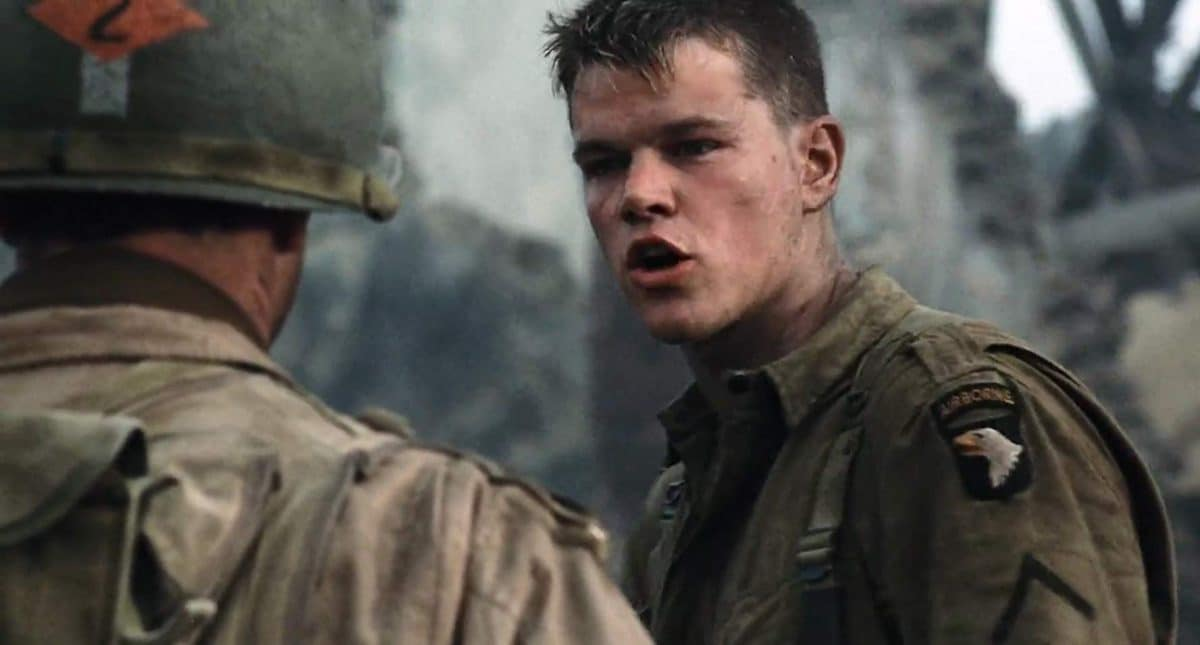 Private Ryan refuses to go with his rescuers.